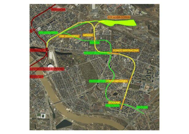 Dwa warianty przebiegu linii M3 Urząd Miasta