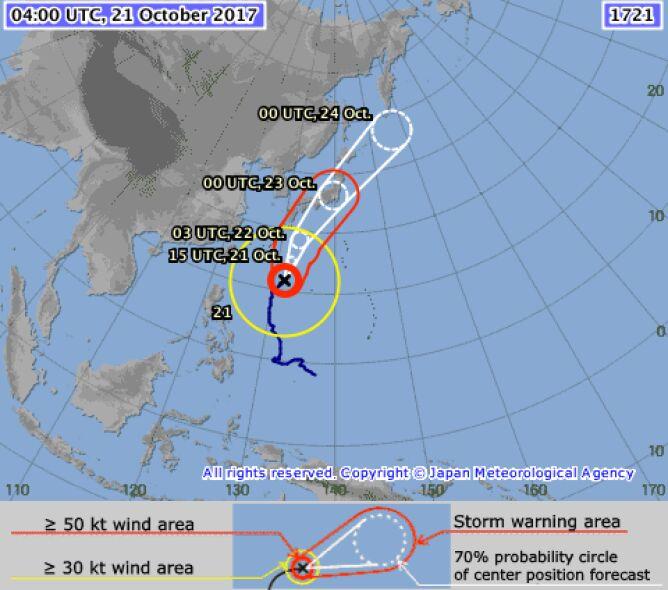 Prognozowana ścieżka huraganu Lan (JMA)