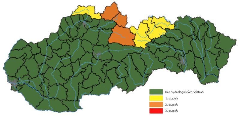 Ostrzeżenia hydrologiczne dla Słowacji (SHMU)